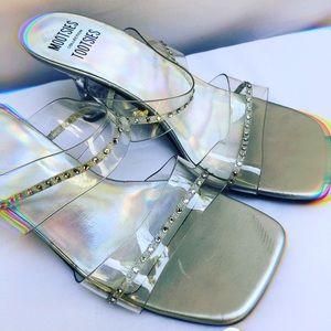 VTG Holographic Perspex Rhinestone 90s Sandal Heel